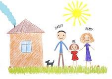 Jonge geitjes die gelukkige familie trekken dichtbij hun huis stock illustratie