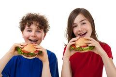 Jonge geitjes die gezonde sandwiches eten Royalty-vrije Stock Afbeelding