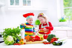 Jonge geitjes die groenten in een witte keuken koken royalty-vrije stock afbeeldingen