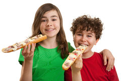Jonge geitjes die grote sandwich eten Stock Foto