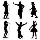 Jonge geitjes die het dansen zingen Royalty-vrije Stock Foto's
