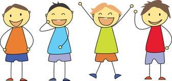 Jonge geitjes die - het gelukkige kinderen glimlachen trekken Royalty-vrije Stock Foto's