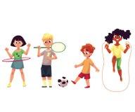 Jonge geitjes die hulahoepel tollen, spelend badminton, voetbal, die over kabel springen royalty-vrije illustratie