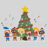 Jonge geitjes die Kerstmisliederen zingen 3d royalty-vrije illustratie