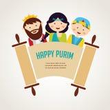 Jonge geitjes die kostuums van Purim-verhaal dragen geschikt vector illustratie