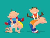Jonge geitjes die leapfrog spelen Royalty-vrije Stock Afbeelding