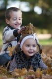 Jonge geitjes die met bladeren spelen Royalty-vrije Stock Afbeeldingen