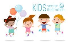Jonge geitjes die met vreugde, gelukkige het springen jonge geitjes, het gelukkige beeldverhaaljonge geitjes spelen springen Vector Illustratie
