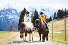 Jonge geitjes die poney berijden Kind op paard in de bergen van Alpen stock afbeeldingen