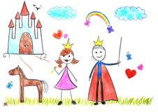 Jonge geitjes die prinses en prins trekken stock afbeeldingen