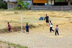 Jonge geitjes die voetbal in ricefield spelen Royalty-vrije Stock Afbeelding