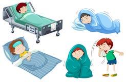 Jonge geitjes die ziek in bed zijn vector illustratie