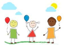Jonge geitjes en ballons royalty-vrije illustratie