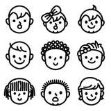 Jonge geitjes en childs gezichtsavatar pictogrammen stock illustratie