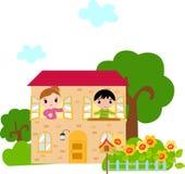 Jonge geitjes en huis vector illustratie