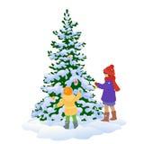Jonge geitjes en Kerstmisboom vector illustratie