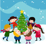 Jonge geitjes en Kerstmisboom Royalty-vrije Stock Foto's