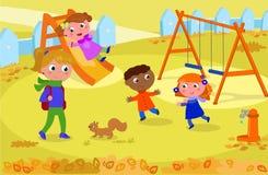 Jonge geitjes en leraar bij de speelplaats in de herfstvector vector illustratie