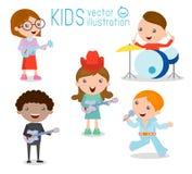 Jonge geitjes en muziek, Kinderen die Muzikale Instrumenten, illustratie spelen van Jonge geitjes Stock Illustratie