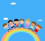 Jonge geitjes en regenboog Stock Afbeeldingen