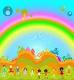 Jonge geitjes en regenboog Royalty-vrije Stock Foto