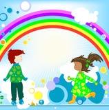 Jonge geitjes en regenboog Stock Fotografie