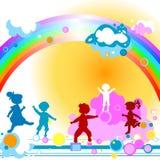 Jonge geitjes en regenboog Royalty-vrije Stock Afbeelding