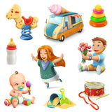 Jonge geitjes en speelgoedpictogrammen stock illustratie