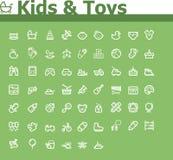 Jonge geitjes en speelgoedpictogramreeks Stock Afbeeldingen