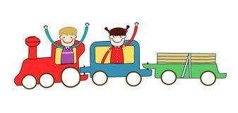 Jonge geitjes en trein Stock Afbeeldingen