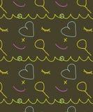 Jonge geitjes gelukkig objecten naadloos patroon stock illustratie