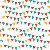Jonge geitjes, het naadloze patroon van Carnaval met bunting, slingers Heldere feestelijke achtergrond, textuur met linten Vector royalty-vrije illustratie