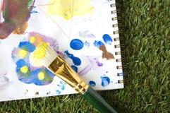 Jonge geitjes het schilderen Stock Foto's
