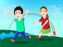Jonge geitjes het spelen/illustratie stock illustratie
