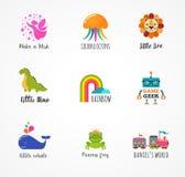 Jonge geitjes, kinderenpictogrammen en emblemen, kinderjarenelementen Stock Afbeeldingen