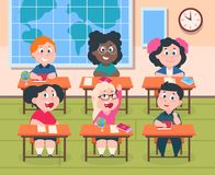 Jonge geitjes in klaslokaal Beeldverhaalkinderen die in school lezing en het schrijven, leuk gelukkige meisjes en jongens bestude vector illustratie