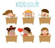 Jonge geitjes in klaslokaal, kind in klaslokaal, jonge geitjes die in klaslokaal, illustratie bestuderen Royalty-vrije Stock Afbeeldingen