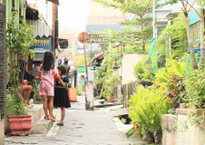 Jonge geitjes - meisjes die op straat van Yogyakarta stellen Stock Foto