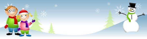 Jonge geitjes met de Winter van de Sneeuwman Stock Foto