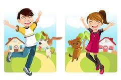 Jonge geitjes met hond Royalty-vrije Stock Fotografie