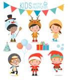 Jonge geitjes met Kerstmiskostuums, Jonge geitjes met geplaatste Kerstmiskostuums, Vector Royalty-vrije Illustratie