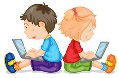 Jonge geitjes met laptop vector illustratie