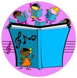 Jonge geitjes met muzikaal boek royalty-vrije illustratie