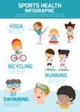 Jonge geitjes met Sportengezondheid Infographics, van het conceptenmensen van de Sportengezondheid de oefeningsreeks Royalty-vrije Stock Afbeeldingen