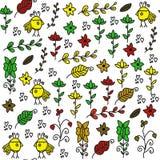 Jonge geitjes naadloos patroon met grappige binnen vogels en naadloos patroon Stock Afbeelding