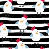 Jonge geitjes naadloos patroon met kippen Vector illustratie vector illustratie