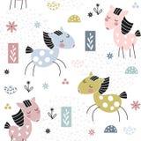 Jonge geitjes naadloos patroon met leuke paarden Royalty-vrije Stock Foto's