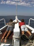 Jonge geitjes op boot Royalty-vrije Stock Foto