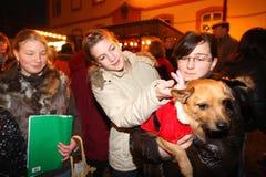 Jonge geitjes op Duitse Kerstmismarkt Royalty-vrije Stock Fotografie