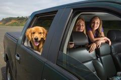 Jonge geitjes op een aandrijving met hun hond royalty-vrije stock foto's